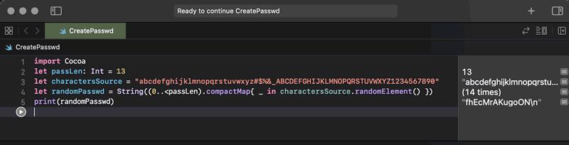 Swift password generator
